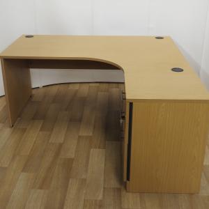 Calva Oak 1600W x 1200D Right Hand Panel End Workstation